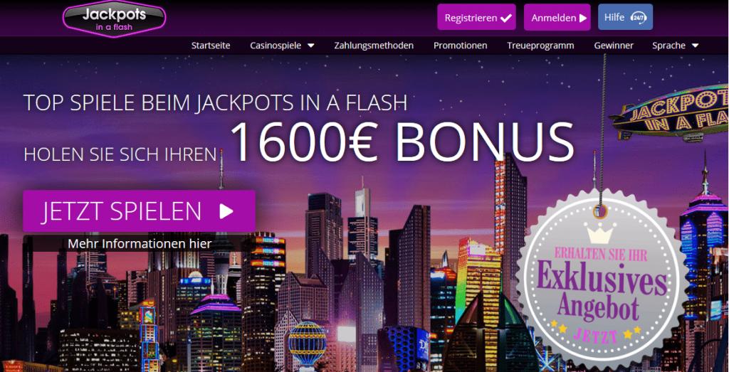 boni und die besten spiele bei jackpots in a flash